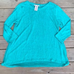 Teal philosophy knit tunic sweater
